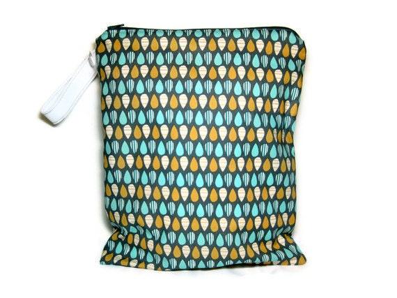 grey wet bag waterproof cloth diaper blue orange zipper medium swim bathing suit pool beach boy gray rain drops