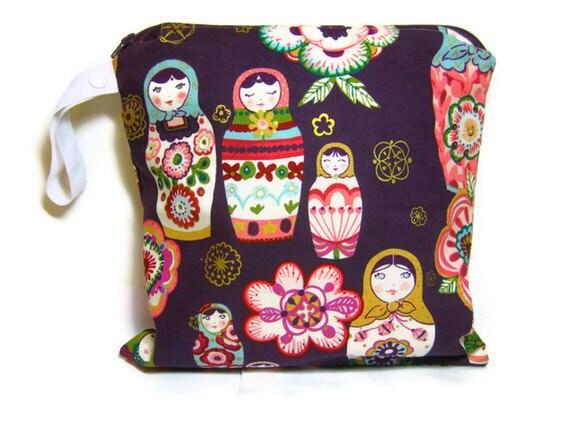 wet bag waterproof cloth diaper plum purple zipper medium swim bathing suit pool beach girl nesting dolls