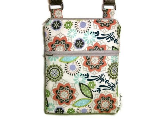 Neutral fall floral cross body purse sling bag adjustable strap shoulder vacation travel hipster  kindle coral green ivory