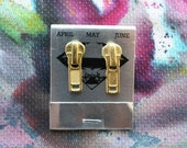 Gold Zippers, Zipper Pull Earrings