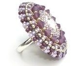 Ring, Swarovski Beaded Cocktail Ring, Purple Lilac Opal, Adjustable Statement Ring