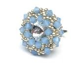 Ring Beaded Swarovski Pastel Blue Opal Silver Swarovski Crystal Adjustable Ring Band