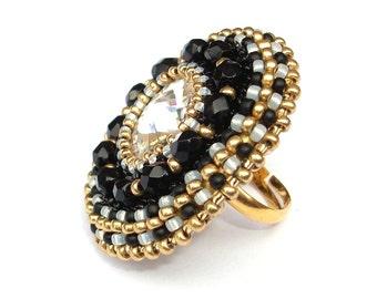 Ring, Beaded, Swarovski Crystal, Black & Gold Cocktail Ring, Adjustable Ring Band, Statement Ring