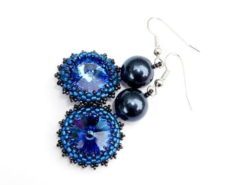 Earrings, Swarovski Sapphire Blue Crystal & Pearl Handbeaded Statement Earrings