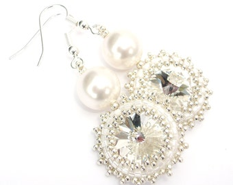 Earrings Pearl Swarovski White Crystal Bridal Wedding