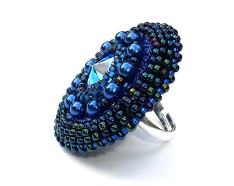 Ring Beaded Swarovski Cocktail Ring Sapphire Blue Adjustable Ring Band