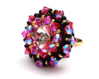 Ring, Beaded, Swarovsk,i Neon Pink Crystals, Black Gold Statement Ring, Adjustable Ring Band