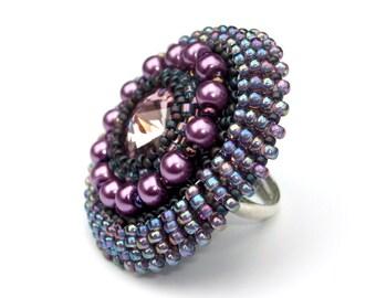 Ring, Swarovski, Beaded Cocktail Ring, Swarovski Crystal, Adjustable Ring Band, Purple Haze