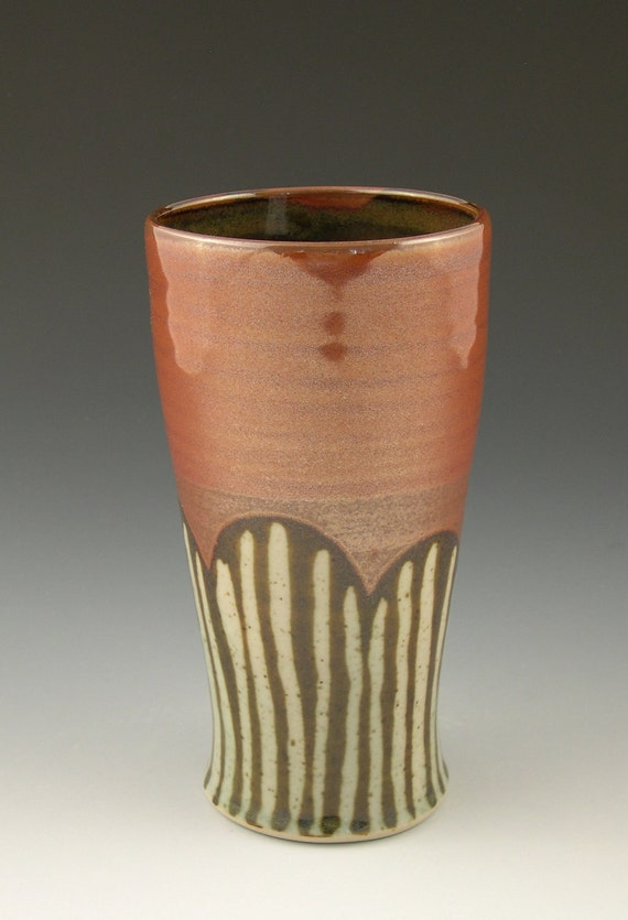 Beer Mug Pint Pottery Tumbler in Iron Red with Brown and Celadon Stripes