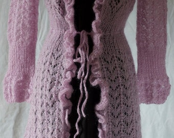 Hand knit light violet sweater-jacket and ready to ship