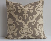 "20"" Cotton, Corduroy Damask Decorative Pillow in Grey and Cream"