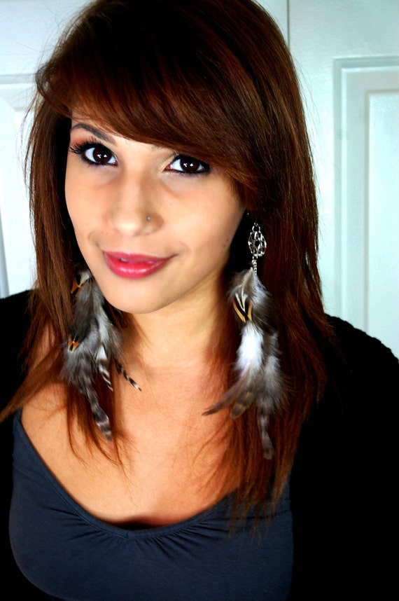 Feather Earrings with Dreamcatchers