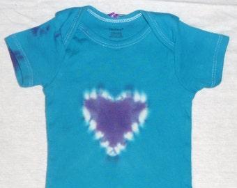 12 months Tie Dye Heart Onesie