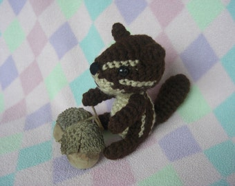 Crocheted Amigurumi chipmunk