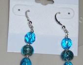 Blues and lampwork earrings (1C)
