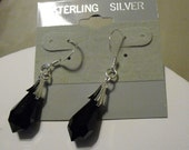 Brilliant faceted black briolette crystal earrings