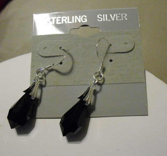 Brilliant faceted black briolette crystal earrings