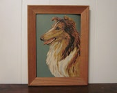 Vintage Paint by Numbers portrait of a Collie dog