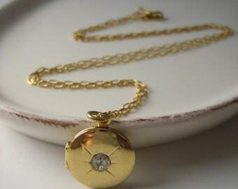 Gold Locket Necklace with Rhinestone