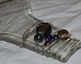 Clear Liquor Cheese/Appetizer Tray with beaded glass accents