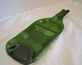 Two-section sushi style Green wine bottle appetizer/snack serving dish