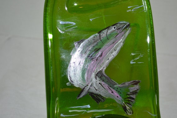 Hand Painted Fish Salmon Trout Green Glass Wine Bottle Cheese Tray/Platter