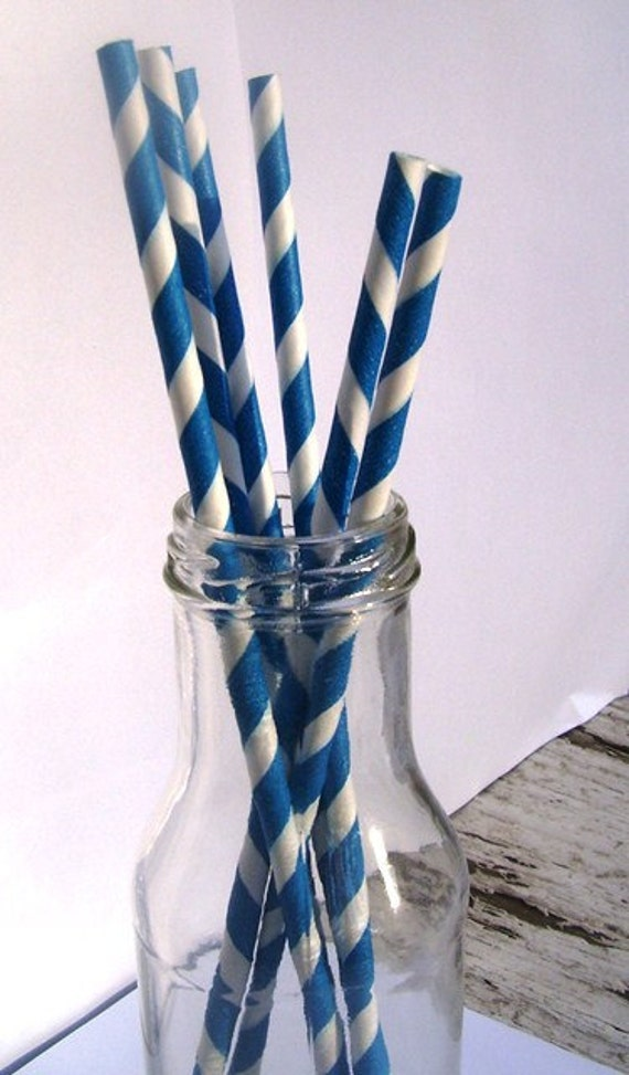 Paper straws- 50 blue-striped with free handmade printable flags