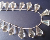 Rock Quartz Faceted chandelier points,per pair ( G30)
