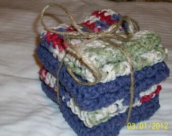 Washcloths Cotton - Gift Set graduation, engagement, birthdays. HANDMADE COTTON WASHCLOTHS Women/Men Eco-friendly washcloths. Bath Gift Set