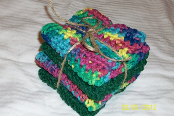 Washcloths Cotton - Gift Set graduation, engagement, birthdays. HANDMADE COTTON WASHCLOTHS Eco-friendly Unisex bath. Bath Gift Set spa gift