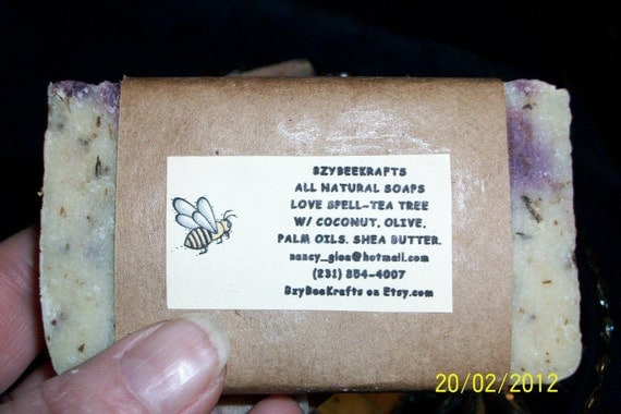 LOVE SPELL (vs type) handmade soap w/ tea tree oil. Home made soap, organic / vegan soaps lavender buds GIFT womens gifts bath accessories