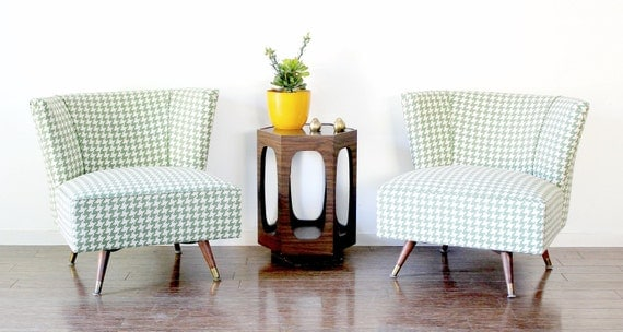 RESERVED FOR CASEY - Pair of Vintage Mid Century Modern Low Swivel Slipper Chairs by Kroehler
