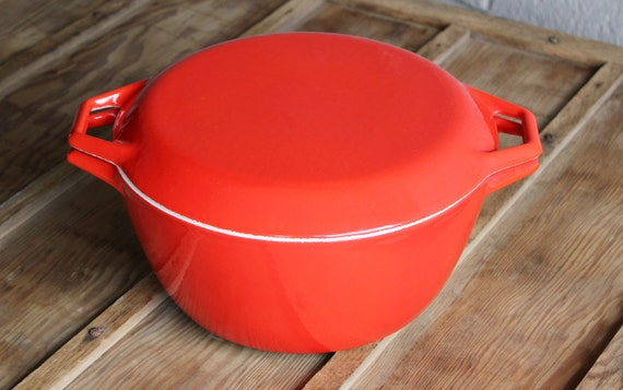 Mid Century Red Enamel Copco D3 4.5 QT Dutch Oven Stock Pot