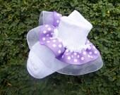 Double layer Ribbon Ruffle Socks - Light Purple and Sheer White