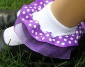 Double layer Ribbon Ruffle Socks - Purple Polka Dot with Sheer Purple Organza