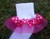 Double layer Ribbon Ruffle Socks - Pink Polka Dot with Sheer Pink Organza