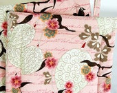 Tweet Tweet.. Bird Kitchen Pot Holders, House Warming Gift, Japanese Bird Print, Creme, Pink, Brown Bird Housewares