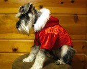 Christmas Dog Hoodie Crushed Red Velvet with White Faux Fur