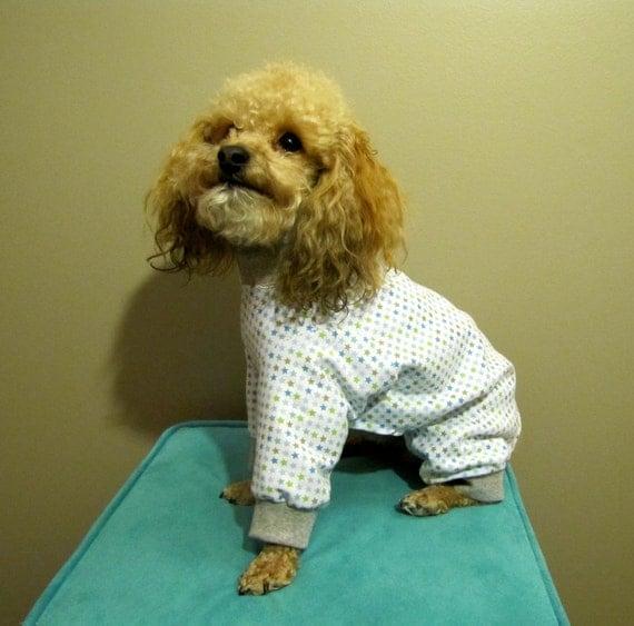 Blue Stars Custom Dog Jersey Fabric Pajamas Long Johns Jumpsuit