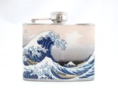 Hip Flask : Great Wave by Katsushika Hokusai, 4 oz Stainless Steel Flask, Velour Bag Included