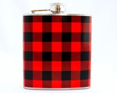 Red Plaid Hip Flask : Manly Outdoors Flannel, 6 oz Stainless Steel Flask