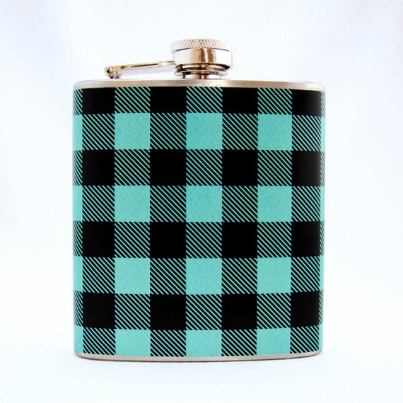 Aqua Green Plaid Flask : Outdoors Flannel, 6 oz Stainless Steel Flask, Velour Bag Included