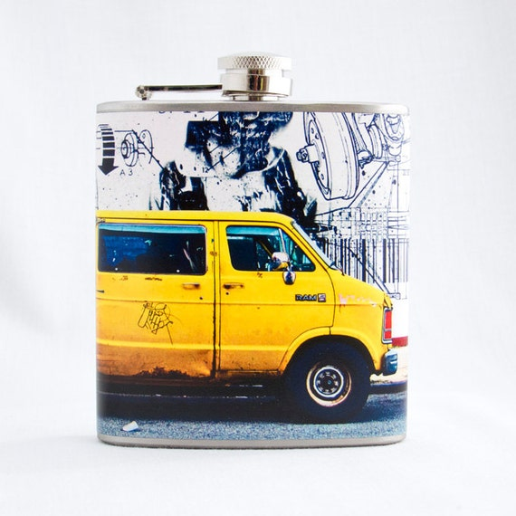 Colorful Art Flask : Yellow Van with 9/11 Mural, 6 oz Stainless Steel Hip Flask, Velour Bag Included