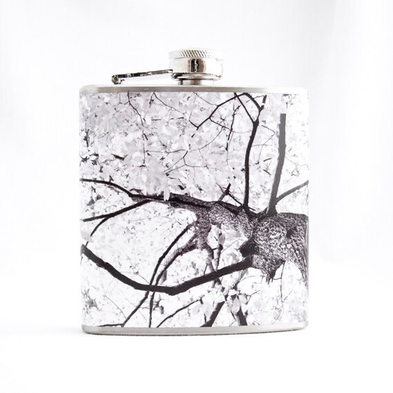 Hip Flask : Autumn Tree, 6 oz Stainless Steel Flask, Velour Bag Included