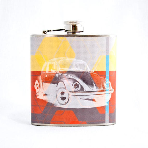 Colorful Volkswagen Beetle Flask : Yellow Red and Grey with White VW Beetle, 6 oz Stainless Steel Hip Flask, Velour Bag Included