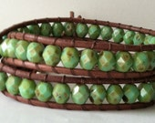 Clearance: Leather Wrap Bracelet - Chan Luu style, Czech Fire-Polished Faceted Glass, Turquoise
