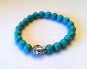 Buddha GOOD LUCK Bracelet, Blue Green Magnesite, TierraCast, Yoga bracelet