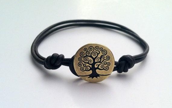 Tree of Life, Brass Button Leather Bracelet, Charm Bracelet