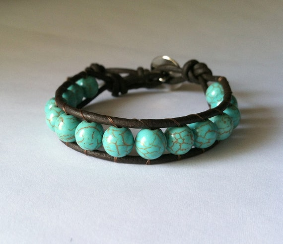 Wrap Bracelet, Stackable, Leather Bracelet, Chan Luu Style, Magnesite Blue-Green Beads