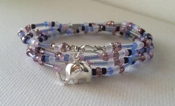 Sale ELEPHANT GOOD LUCK Charm, Lilac Toho Seed Bead Wrap Bracelet / Necklace
